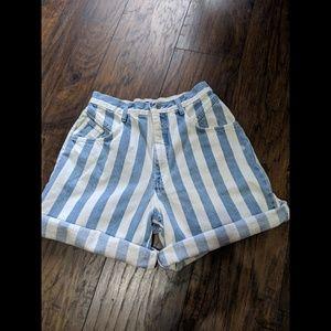Vintage High Rise Mom shorts Striped denim 80's